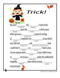 Halloween Mad Libs Halloween Mad Libs - Tricks! – Classroom Jr.