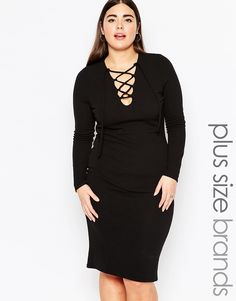 Image 1 ofClub L Plus Size Midi Bodycon Dress With Lace Up Front