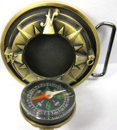 Belt buckle with compass and secret compartment