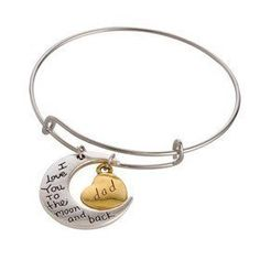 "Gift idea for father's day? Show your appreciation with these ""I love you to the moon and back"" Bangle Bracelets. This is a perfect gift idea for anniversaries, birthdays and really any occasions to show dad your love."