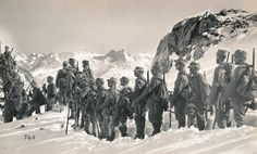 German Alpenkorps soldiers posing on a mountain; ca. 1915.