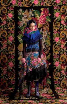 Fashion shoot inspired by Frida Khalo Mexican artist of the early 20th century.