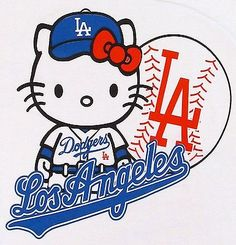 HELLO KITTY LA DODGERS Tank Top T-shirt Los Angeles Anime Cat JUNIORS S-XL White