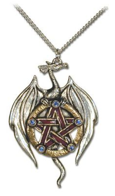 "Pentagram Dragon Pendant with Swarovsky Crystals Eastgate. $37.00. genuine Swarovski crystals, comes with 18"" silver-finish chain. comes gift boxed, ships immediately. lifetime warranty, satisfaction guaranteed. Save 31% Off!"