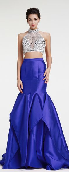 73d41525a1ed8 Royal blue mermaid two piece prom dress crystal sparkly prom dresses long  pageant dresses with slit