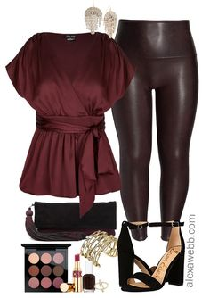 33adc83742a Plus Size Faux Leather Leggings Outfit - Plus Size Wine Oxblood Leather  Leggings - Plus Size