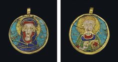 A BYZANTINE DOUBLE-SIDED GOLD AND ENAMEL PENDANT - CIRCA 11TH-12TH CENTURY A.D.