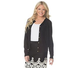 Black Eyelet Sweater with Gold Buttons -   -  Sophie May Clothing  - 1