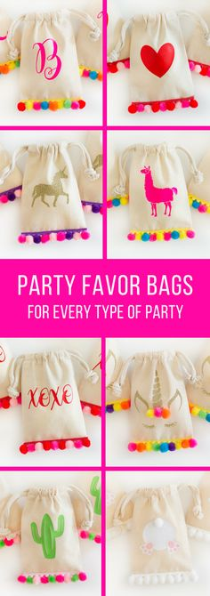 Pom pom goodie bags, party favor bags for every party! #goodiebags #partyfavors #favorbags
