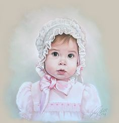 Pastel portrait of a little baby girl with old fashion by BograArt, $320.00