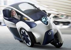 The Toyota i-Road personal mobility concept looks all prepared to roll out at the Geneva International Motor Show. As you can see in the image above, the Toyota i-Road would come across as an ultra-compact, tandem two-seater electric vehicle [. Microcar, Reverse Trike, Concept Cars, Scooters, Moto Journal, Monocycle, Lambretta, Automobile, Third Wheel