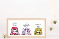 One set of three prints, I choose  Love, Joy and Happiness Prints  - Instant Download  Red Roses, Sunflowers and Purple Orchids   Print I Choose Happiness Quotes, Joy And Happiness, Purple Orchids, Choose Love, White Lilies, Lace Print, Sunflowers, Red Roses, Third