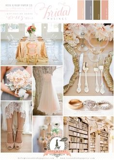 Peach and gold wedding color palette
