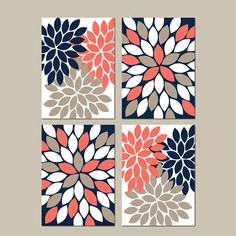 Flower Wall Art Coral Navy Sepia Wall Decor CANVAS or