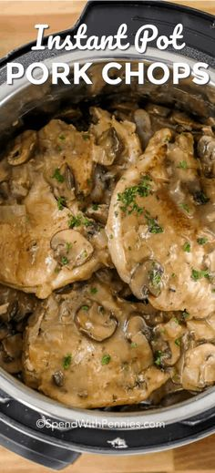 These Instant Pot pork chops are an easy weeknight pork dinner recipe that is smothered in a delicious mushroom gravy. The whole family will love them! pot recipe pork These Instant Pot pork chops are an easy weeknight pork dinner recipe that Pork Recipes For Dinner, Easy Pork Chop Recipes, Instant Pot Dinner Recipes, Instant Recipes, Lunch Recipes, Pressure Cooker Pork Chops, Instant Pot Pressure Cooker, Pressure Cooker Recipes, Pressure Cooking