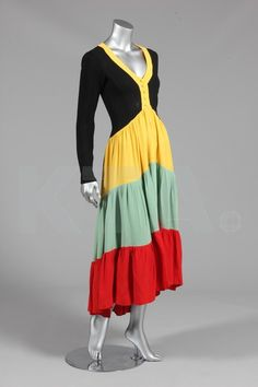 'Traffic Light' dress with black moss crepe bodice and tri-color flounces, by Ossie Clark, British, 1970s.