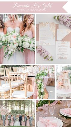 Rose Gold Wedding Invitations for a Romantic Backyard Wedding Romantic Wedding Colors, Romantic Wedding Centerpieces, Romantic Wedding Receptions, Gold Wedding Theme, Pink And Gold Wedding, Dusty Rose Wedding, Gold Wedding Invitations, Romantic Weddings, Wedding Favors
