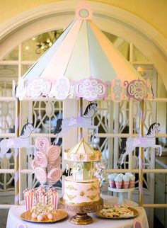 Carousel dessert table from a Carousel of Dreams Birthday Party Carousel Birthday Parties, Carousel Party, Birthday Party Tables, First Birthday Parties, First Birthdays, Party Table Decorations, Birthday Decorations, Party Themes, Party Ideas