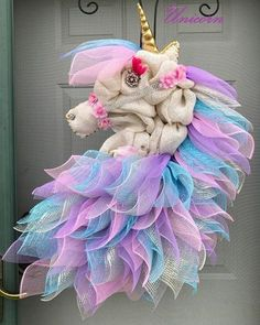 Burlap Unicorn Wreath...this is such an adorable craft for the door!