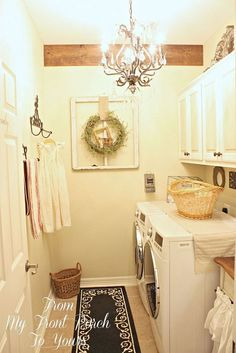 Super cute lamp! Would have never thought to put that in a laundry room but I love you! Budget Laundry Room Makeover :: Hometalk