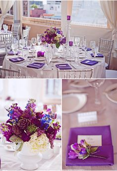 Purple Elements: I like the purple napkins, perhaps with Baby's Breath and Purple flowers in the center.
