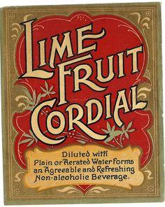 Lime Fruit Cordial Label, circa 1800s. $3.99, via Etsy.