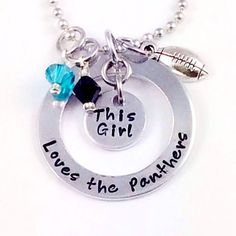 After the Holidays Sale! Hand Stamped This Girl Loves FOOTBALL... or any sport necklace. #panthers #carolina #NC