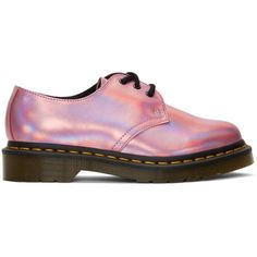 Dr. Martens Pink Iced Metallic 1461 Derbys ($110) ❤ liked on Polyvore featuring shoes, oxfords, pink, pink leather shoes, leather oxfords, dr martens oxford, metallic oxfords and pink shoes