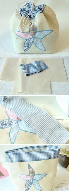 Handmade Gift Bag Tutorial DIY  http://www.free-tutorial.net/2017/04/sewing-gift-bag-with-starfish-decor.html