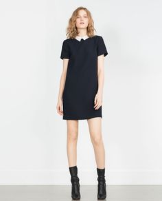 Bootyjeans Black Peter Pan Collar Preppy Style Dress   Mini Dresses     DRESS WITH CONTRASTING COLLAR View all Dresses WOMAN   ZARA United States