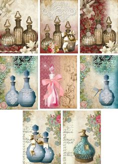 Vintage inspired perfume bottles note cards tags ATC altered art set of 8