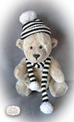 Sheepskin Teddy Bear. 32 cm. 12.5 inches. Teddy bear in cap