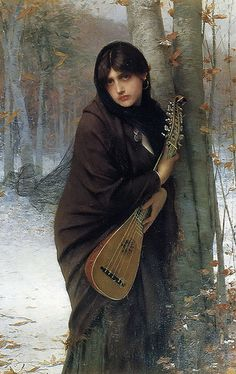 "Jules Joseph Lefebvre (1836-1911), ""A gypsy girl with a mandora"""