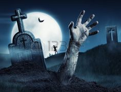 Zombie hand coming out of his grave. Full moon