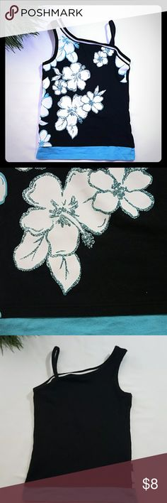 Justice Tank Top Stylish, Black, blue & white Tank Top w/ Floral design, Kids Size 5 Justice Shirts & Tops Tank Tops
