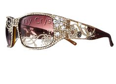 4GL935G Lady Gaga Iced Out Brown Sunglasses.