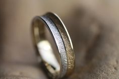 Two tone Wedding band K18/White Gold K14 ring/Yellow Gold K18