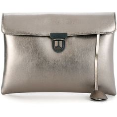 Golden Goose Deluxe Brand Birthday Clutch ($448) ❤ liked on Polyvore featuring bags, handbags, clutches, metallic, metallic clutches, golden goose, leather purse, golden goose handbags and brown leather purse