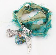 Frayed Sari Silk Ribbon Wrap-Around Bracelet - Anklet - Necklace ...