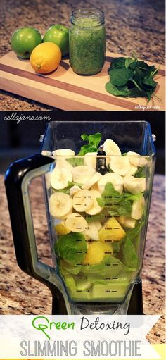Slimming Detox Smoothie - A Victoria Secret Model Favorite! ** Not the best tasting smoothie but gets the job done **. Really chunky, added extra water. I drink this at work throughout the entire day to keep my hunger at bay. Smoothie Detox, Juice Smoothie, Smoothie Drinks, Healthy Smoothies, Healthy Drinks, Healthy Snacks, Detox Drinks, Cleanse Detox, Kale Juice