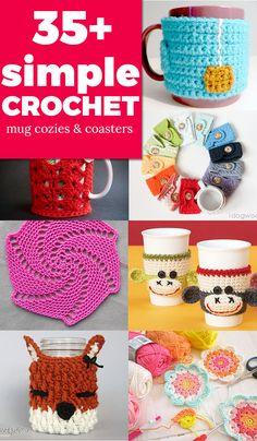 35+ simple crochet tutorials - MUG COZY & COASTER