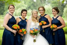 Orange & Shades of Blue Country Club Wedding|Photographer: HRM Photography