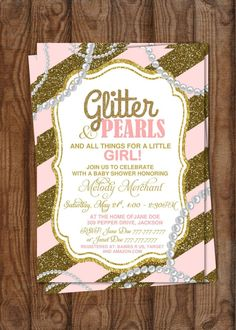 DIY Printable Baby Shower It's a Girl   Glitter and Pearls   Gold Glitter   Trendy   Pink and Gold by PerfectedbyGrace on Etsy