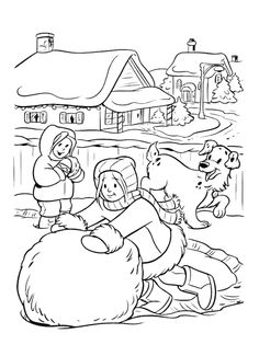 Winter - 999 Coloring Pages Farm Coloring Pages, Coloring Pages Winter, Dog Coloring Page, Alphabet Coloring Pages, Christmas Coloring Pages, Coloring Books, Winter Colors, Winter Theme, Coloring Pages Inspirational