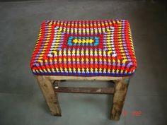Rectangular Crocheted Stool Cover, free pattern by The Lazy Hobbyhopper.