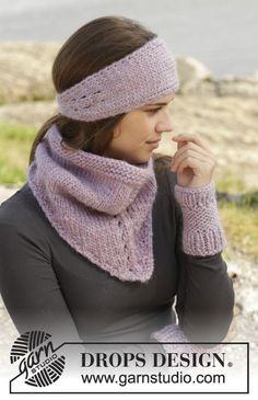 "Idaho - Knitted DROPS neck warmer, head band and wrist warmers in ""Eskimo"". - Free pattern by DROPS Design"