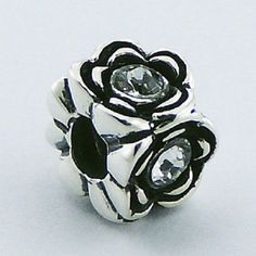 Silver bead Swarovski Crystal Flower 10mm 925 sterling for charm bracelet new