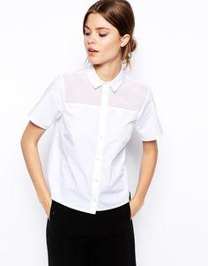 ASOS | ASOS Boxy Shirt with Sheer Insert at ASOS