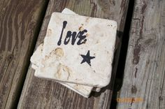 Love With Star Accent Black Stamped Travertine Tile Coaster Set by TrendyTrioDesigns on Etsy