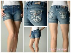 LBJC Denim Shorts with Light Rose Swarovski Crystals - Summer perfect!  customerservice@lbjcdenim.com - www.lagunabeachjc.com - #lbjcdenim
